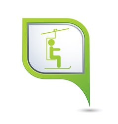 Chair lift icon green map pointer vector