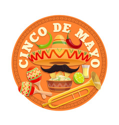 Cinco de mayo round icon mexican culture vector