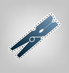 clothes peg sign blue icon with outline vector image