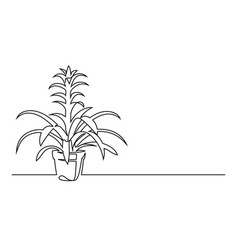 continuous line drawing a flower in a pot vector image
