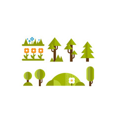 cute green plants and trees set elements of the vector image