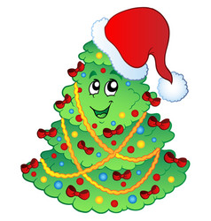 Decorated christmas tree 2 vector