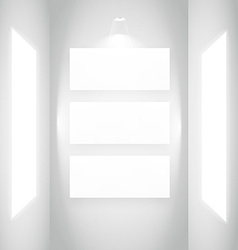Display picture frame in white wall vector