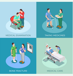 Doctor patient isometric design concept vector