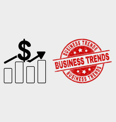 dollar trends icon and grunge business vector image