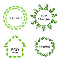 eco leaf wreath logo set design template vector image