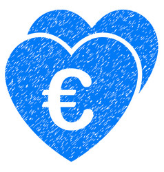 Euro favorites hearts grunge icon vector