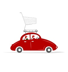Family traveling by red car with trolley vector image
