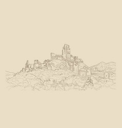 famous castle landscape ancient architectural vector image