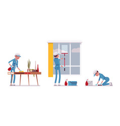 Female janitor wiping indoors vector