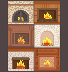 fireplace wooden and stone paved furnaces set vector image