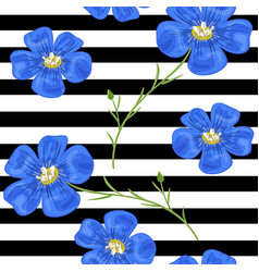 Flax blue flowers seamless pattern vector