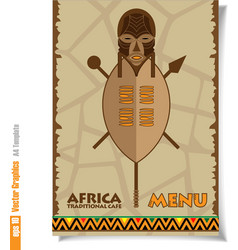 Flyer and banner of Africa traditional cafe men vector