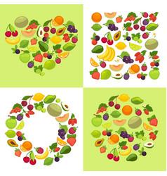 fruit and berries shape emblem template organic vector image
