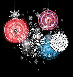 graphic festive greeting card with christmas balls vector image