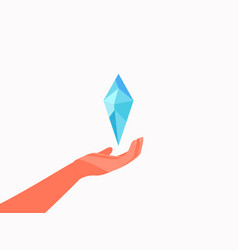Hand and diamond to give a precious crystal flat vector
