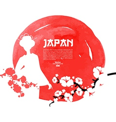 Hand drawn Japanese cherry vector image