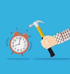 Hand hold hammer broking alarm clock vector