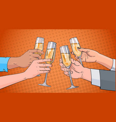 hands group clinking glass of champagne wine vector image