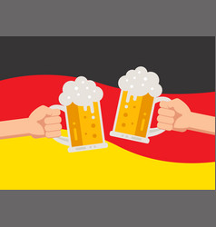 hands holding up beer mugs oktoberfest celebration vector image