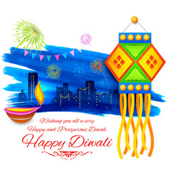 Happy Diwali background kandil vector image