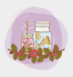 Juice mason jar vector