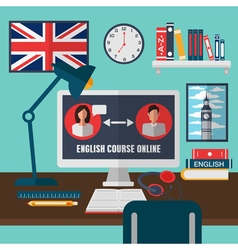 Learning English Online Language School Education vector