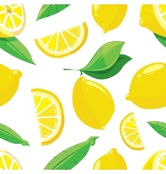 Lemon slices citrus seamless pattern vector