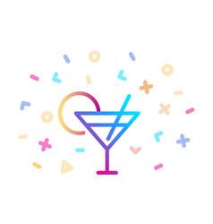 linear colorful cocktail icon symbol fun vector image
