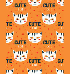 magic seamless pattern with cat vector image