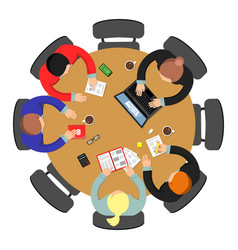 Office meeting top view conference group teamwork vector