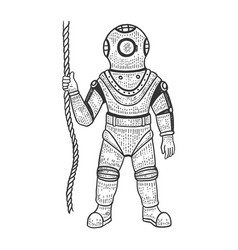 old diver sketch engraving vector image