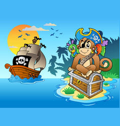Pirate monkey and chest on island vector