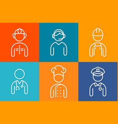 profession set line icons set of people avatars vector image
