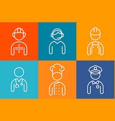 profession set line icons set of people avatars vector image