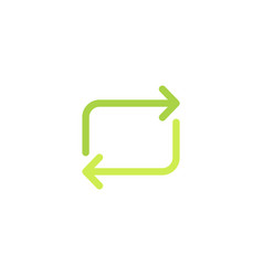 rectangular green arrows eco icon and recycling vector image