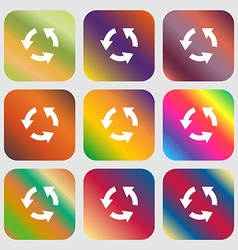 Refresh icon Nine buttons with bright gradients vector image