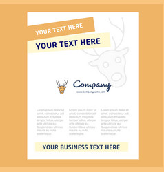 reindeer title page design for company profile vector image