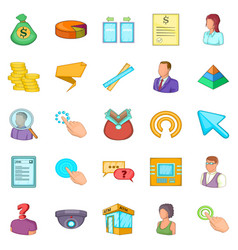 Salary icons set cartoon style vector