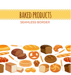 Seamless border with bread vector