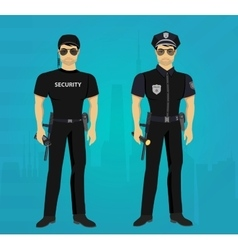 Security and Policeman guards concept vector image