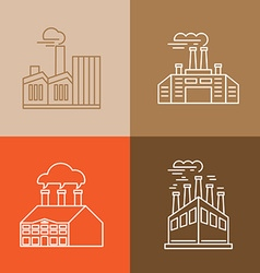 set linear icons and logos vector image