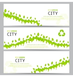 Set of elegant web eco banners vector