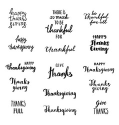 Set thanksgiving overlays lettering hand drawn vector