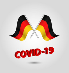 Set two waving crossed flags germany vector