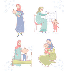 Set with young muslim mother wearing a headscarf vector