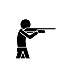shooting a gun black icon sign on isolated vector image