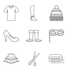 Shopping tour icons set outline style vector