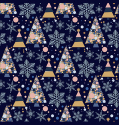 snowflake winter christmas tree holiday fir-tree vector image