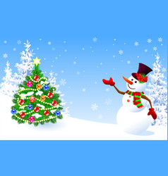 Snowman welcomes decorated christmas tree vector